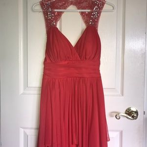 Coral High-Low Semi-Formal Dress